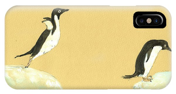 Bird Watercolor iPhone Case - Jumping Penguins by Juan  Bosco