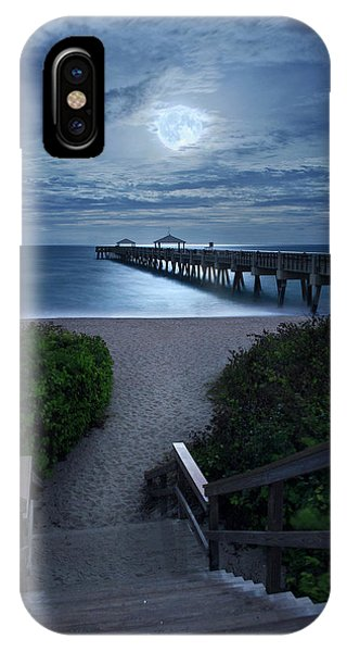 Juno Pier Stairs To Beach Under Full Moon IPhone Case