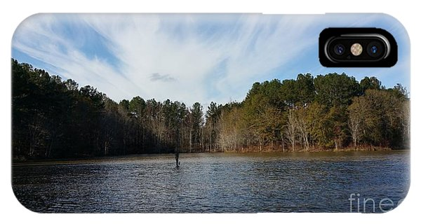 Lake Juliette iPhone Case - Just Another Day Out Fishing  by Donna Brown