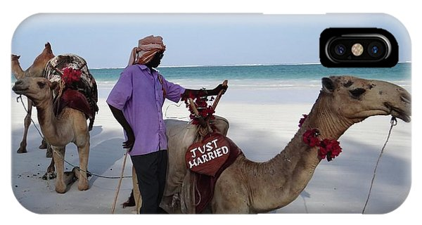 Exploramum iPhone Case - Just Married Camels Kenya Beach 2 by Exploramum Exploramum