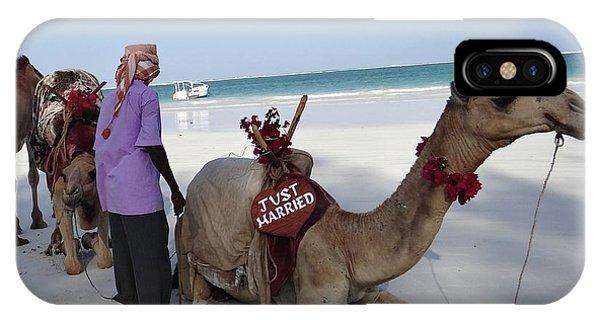 Exploramum iPhone Case - Just Married Camels Kenya Beach by Exploramum Exploramum