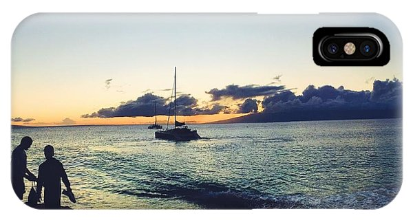 Catamaran iPhone Case - Kaanapali Sunset #1 by Stacia Weiss