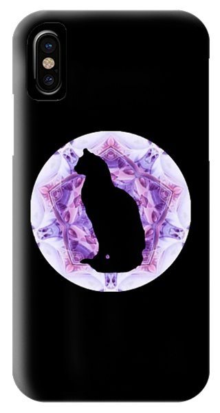 IPhone Case featuring the digital art Kaleidoscope Cat Silhouette by Deleas Kilgore