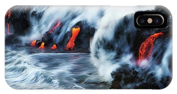 Black Sand iPhone Case - Kamokuna Lava Ocean Entry, 2016 by Christopher Johnson