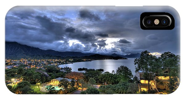 Kaneohe Bay Night Hdr IPhone Case