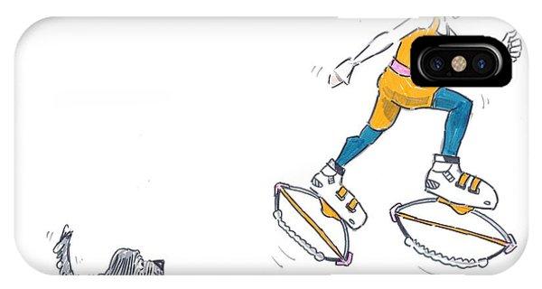 Kangoo Jumps Bouncy Shoes Walking The Dog Keep Fit Cartoon IPhone Case