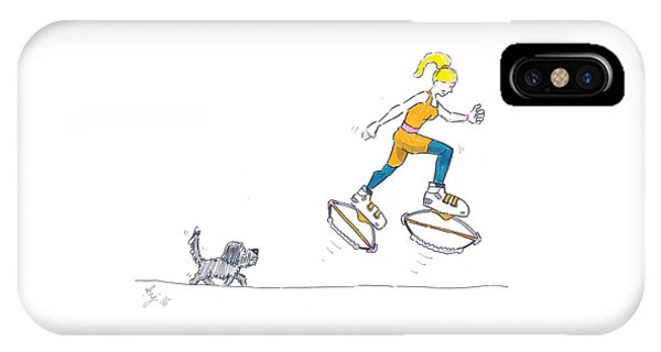 Kangoo Jumps Bouncy Shoes Walking The Dog Keep Fit Cartoon IPhone Case