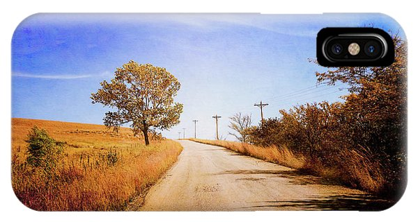 IPhone Case featuring the photograph Kansas Autumn Rural Road by Anna Louise