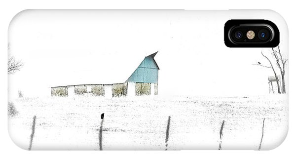 Kansas Blue Barn In Frozen Fog IPhone Case