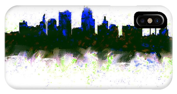 Ben Affleck iPhone Case - Kansas City Skyline Blue  by Enki Art