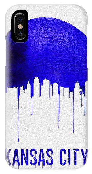 Midwest iPhone Case - Kansas City Skyline Blue by Naxart Studio