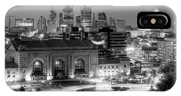 Kansas City Skyline Bw IPhone Case