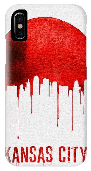Midwest iPhone Case - Kansas City Skyline Red by Naxart Studio