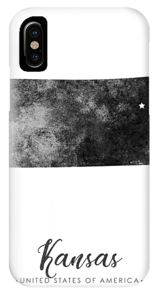 Texture iPhone Case - Kansas State Map Art - Grunge Silhouette by Studio Grafiikka