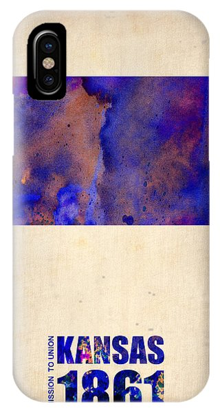 Global iPhone Case - Kansas Watercolor Map by Naxart Studio
