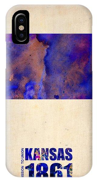 Decoration iPhone Case - Kansas Watercolor Map by Naxart Studio