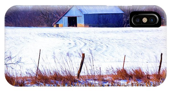 Kansas Winter Field Barn 1 IPhone Case