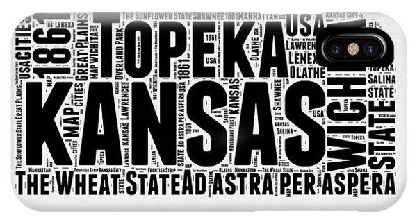 Kansas Word Cloud Map 2 IPhone Case