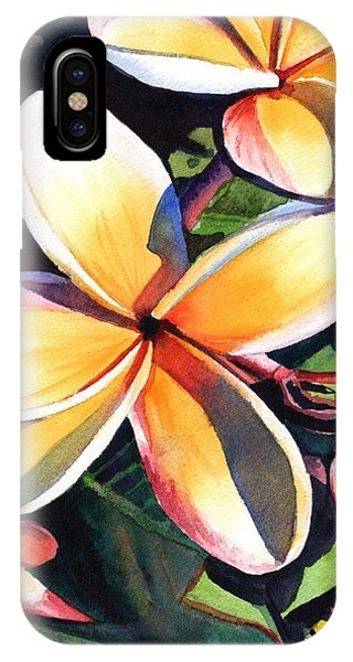 Oahu Hawaii iPhone Case - Kauai Rainbow Plumeria by Marionette Taboniar