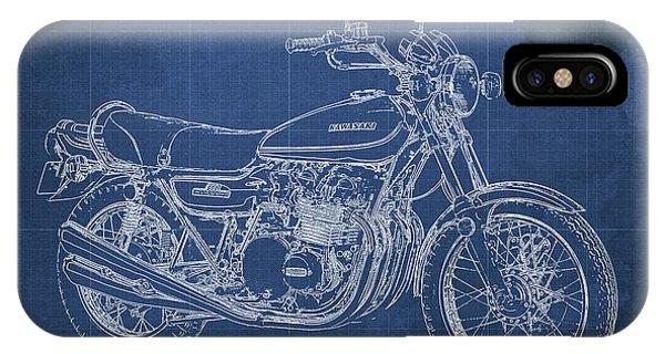 Arte iPhone Case - Kawasaki Motorcycle Blueprint, Mid Century Blue Art Print by Drawspots Illustrations