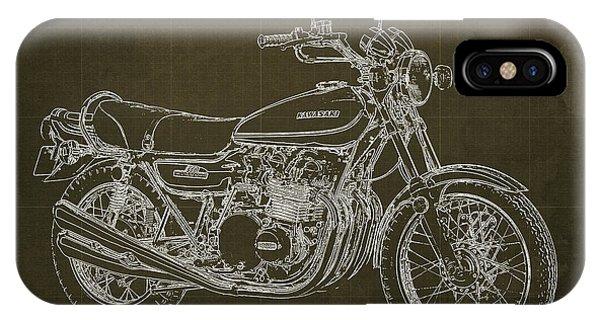 Arte iPhone Case - Kawasaki Motorcycle Blueprint, Mid Century Brown Art Print by Drawspots Illustrations
