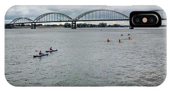 Centennial Bridge iPhone Case - Kayaking On The Mississippi River by Heidi Brandt