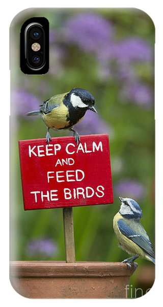Titmouse iPhone Case - Keep Calm And Feed The Birds by Tim Gainey