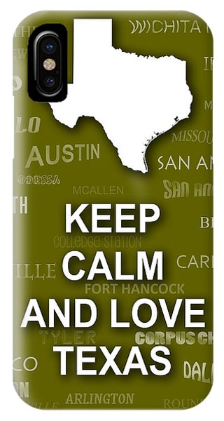 Keep Calm And Love Texas State Map City Typography IPhone Case