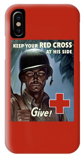 Cross iPhone X Case - Keep Your Red Cross At His Side by War Is Hell Store