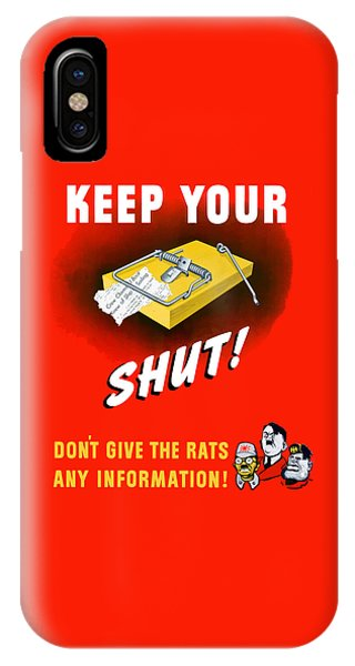 Political iPhone Case - Keep Your Trap Shut -- Ww2 Propaganda by War Is Hell Store