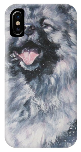Pup iPhone Case - Keeshond In Snow by Lee Ann Shepard