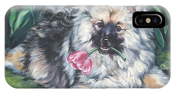 Pup iPhone Case - Keeshond In The Tulips by Lee Ann Shepard