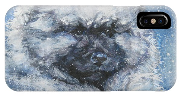 Pup iPhone Case - keeshond Puppy in the Snow by Lee Ann Shepard