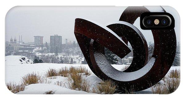 Centennial Bridge iPhone Case - Kendall Yards - Centennial Trail - Winter Storm - Spokane by Daniel Hagerman