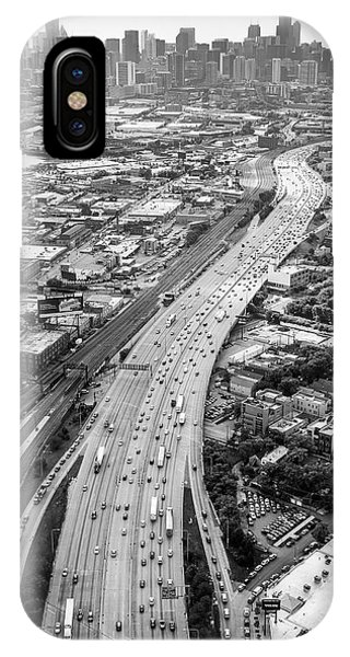 Chicago Skyline Art iPhone Case - Kennedy Expressway And Chicago Skyline by Adam Romanowicz