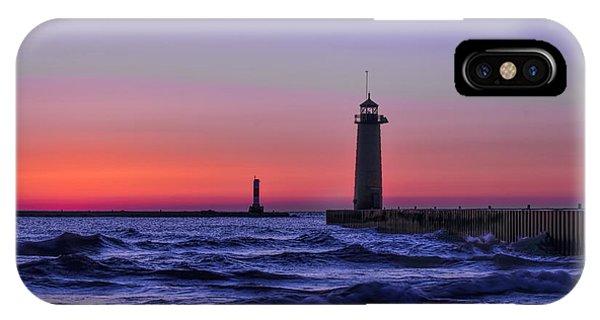Kenosha Lighthouse Blue Waves IPhone Case