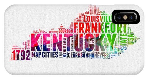 Kentucky Watercolor Word Cloud Map IPhone Case