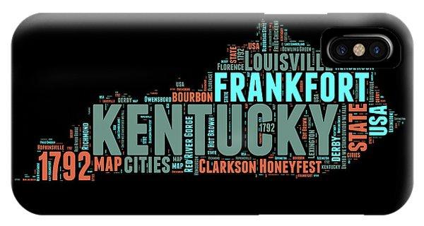 Kentucky Word Cloud Map 1 IPhone Case