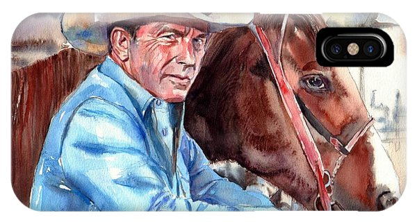 North Carolina iPhone Case - Kevin Costner Portrait by Suzann's Art