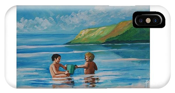 Kids Playing On The Beach IPhone Case