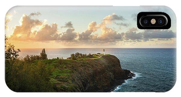 Navigation iPhone Case - Kilauea Light House Seascape At Sunset - Kauai Hawaii by Brian Harig
