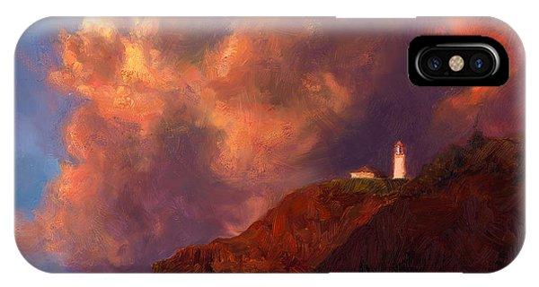 Kilauea Lighthouse - Hawaiian Cliffs Sunset Seascape And Clouds IPhone Case