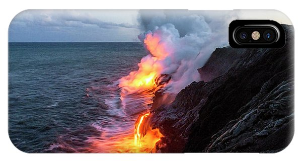 Travel iPhone Case - Kilauea Volcano Lava Flow Sea Entry 3- The Big Island Hawaii by Brian Harig