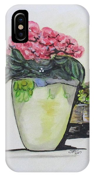 IPhone Case featuring the painting Kimberly's Castellabate Flower Pot by Clyde J Kell