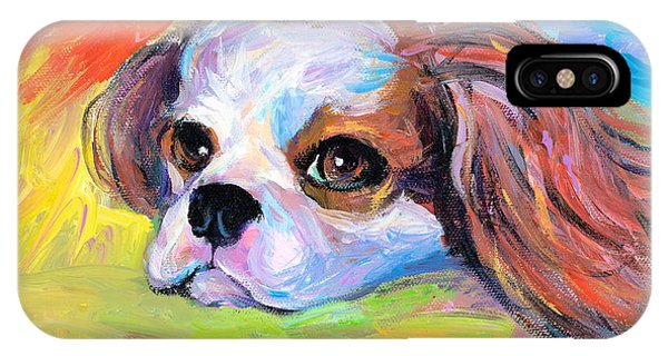 King Charles iPhone Case - King Charles Cavalier Spaniel Dog Painting by Svetlana Novikova