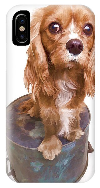 Digital Effect iPhone Case - King Charles Spaniel Puppy by Edward Fielding