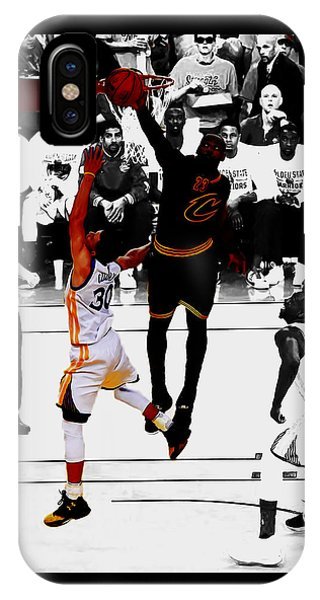 Kyrie Irving iPhone Case - King James Blocks Steph Curry by Brian Reaves