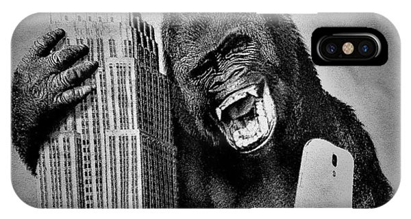 iPhone Case - King Kong Selfie B W  by Rob Hans