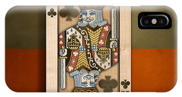 King Of Clubs In Wood IPhone Case