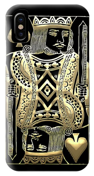 King Of Spades In Gold On Black   IPhone Case